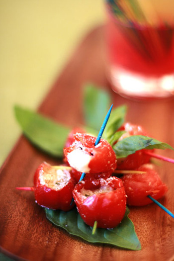 Cherry Peppers Stuffed with Mozzarella and Basil