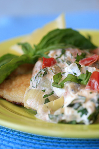 Herbed Fish with Creamy White Wine Sauce