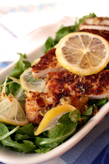 Israeli Chicken Cutlet with Arugula Salad