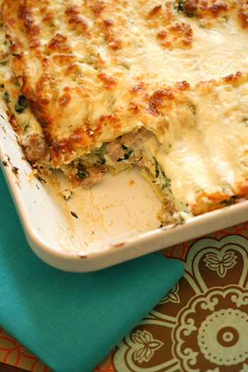 Spicy Sausage and Spinach Lasagna
