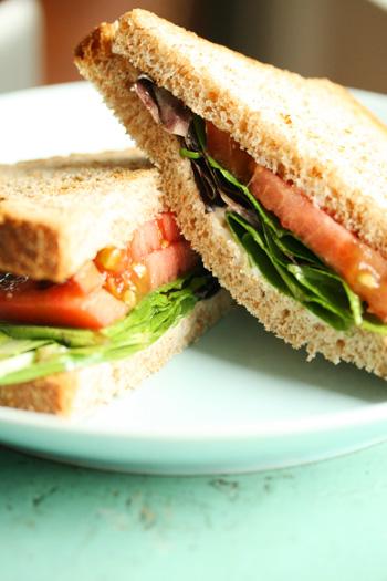 tomato lettuce sandwich