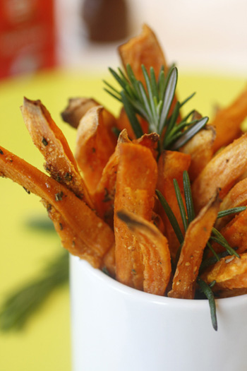 Sweet Potato Fries with Rosemary and Parmesan - Skinny Chef