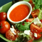 Tomato Salad with Goat Cheese and Roasted Pepper