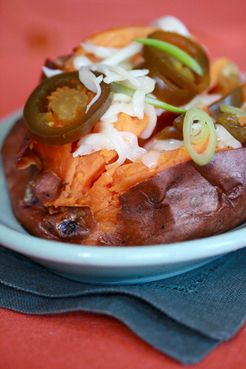 Twice Baked Sweet Potato with Munster Cheese and Jalapenos