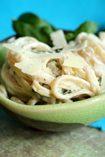 Light and Creamy Fettuccini with Fresh Basil
