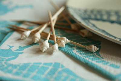 sea horse napkin and sea shell toothpick