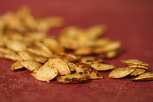 Toasting pumpkin seeds