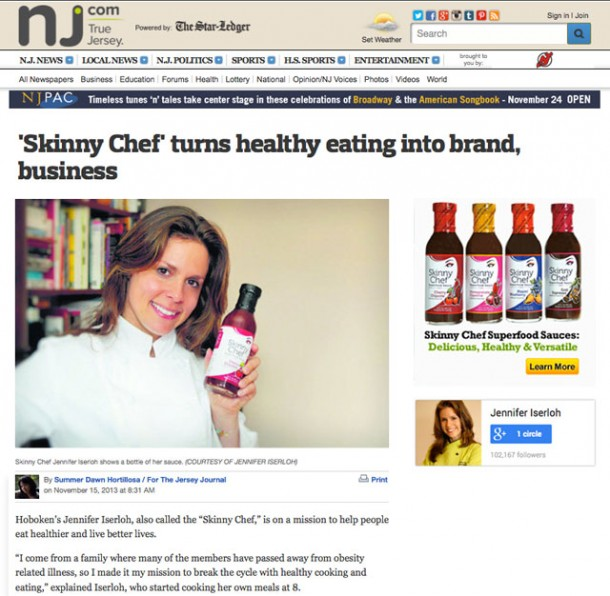 Skinny Chef Featured in Jersey Journal
