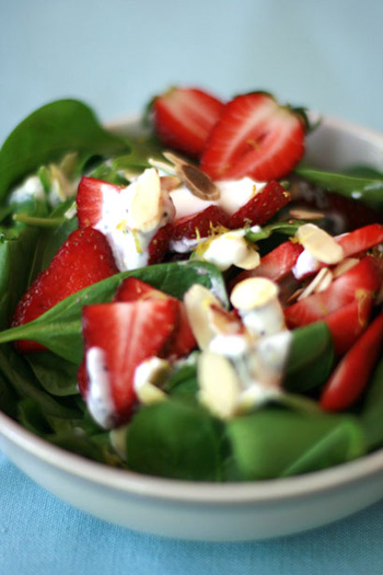 Low Fat Poppy Seed Dressing with Spinach Strawberry Salad