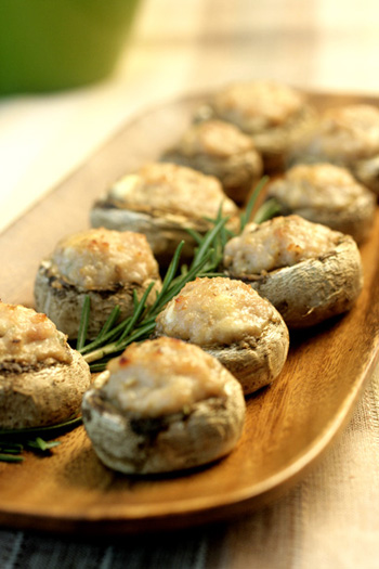 Mushrooms Stuffed with Sausage and Goat Cheese